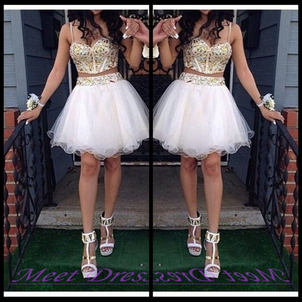 top popular 2020 Cheap Two Piece Ball Gown Homecoming Dresses With Gold Beaded Straps Tulle White Short Prom Dress Sweet 16 Gown 2020