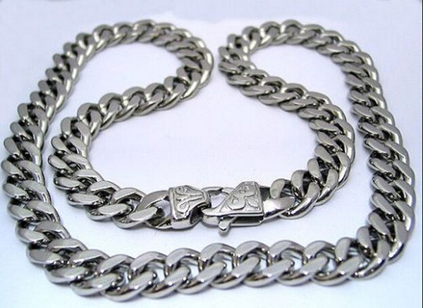 New Husband / Father Gifts Huge 15mm 24'' Middle Eastern Men Jewelry Stainless Steel Cuban Curb Link-chain Necklace Silver Tone Heavy bulk