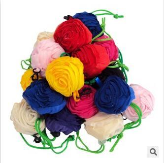 top popular 2015 Cute Nylon Pretty Rose Foldable Bags Eco Reusable Environmental Shopping Bag pouch handbag Go Green 10 Colors 2019