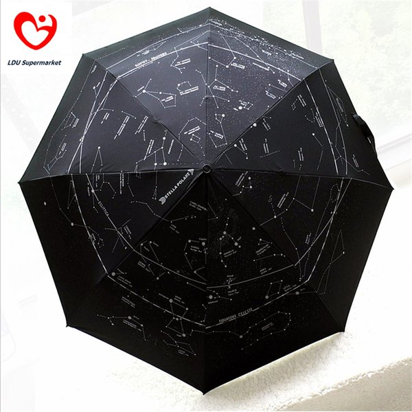 Wholesale-Galaxy Constellation Style 3 Fold Automatic Women Men Sun Uv Protection Black Large Rain Umbrellas For Sale Big Size Parasol