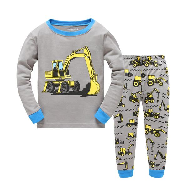 Niños encantadores pijamas niños ropa de dormir pijamas de dibujos animados de la excavadora conjunto de dos piezas ropa de dormir de algodón homewear 2017 nuevo otoño invierno