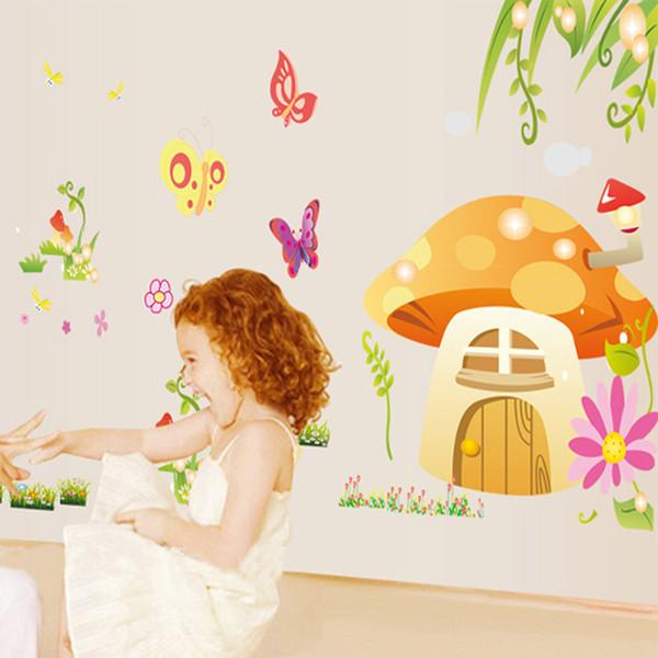 Kids&Baby Room Nursery Cartoon Wall Decorative Decal Stickers-Butterfly, Mushroom House, Flowers, Grass Wall Decor Murals Posters