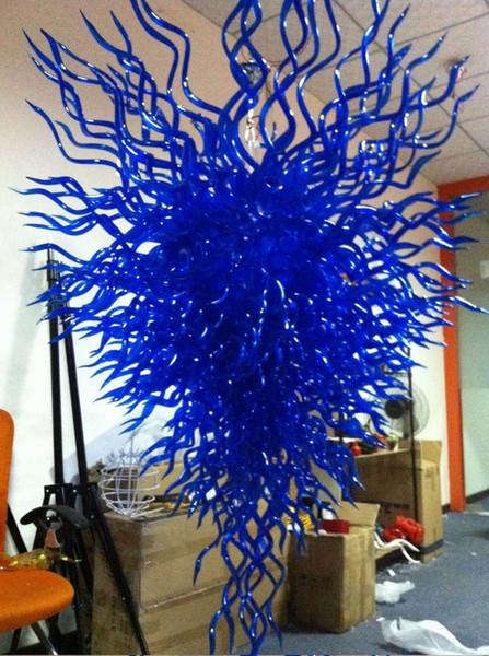 Air Shipping Led Art Chandelier 100 Mouth Blown Borosilicate Murano Glass Chandelier Pendant Light Best Cobalt Blue Pendant Lighting Hanging Lights