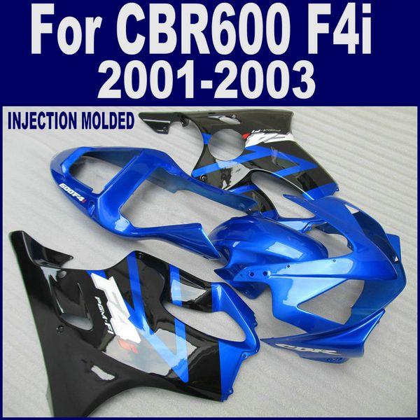 Blauschwarzer Verkleidungssatz für 01 02 03 HONDA CBR 600 F4i Verkleidungen INJECTION MOLDED CBR600 F4i 2001 2002 2003
