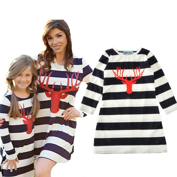 Mother Daughter Dresses Stripe Autumn Christmas Cartoon Deer Long Sleeve Mommy And Me Dress Clothes Family Matching Outfits Z11