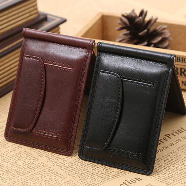 Brand Leather Men Wallet Simple Purse Hold Bill Male Slim Clamp For Money Clip Metal Holder Cash Credit Card Pocket For Coin