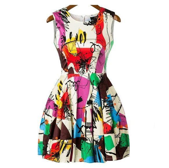 Fashion Summer Mini Dresses Sexy O-neck Printed Sleeveless Cheap Plus Size Women Short Dress Skirt Casual Club Evening Party Dress B102