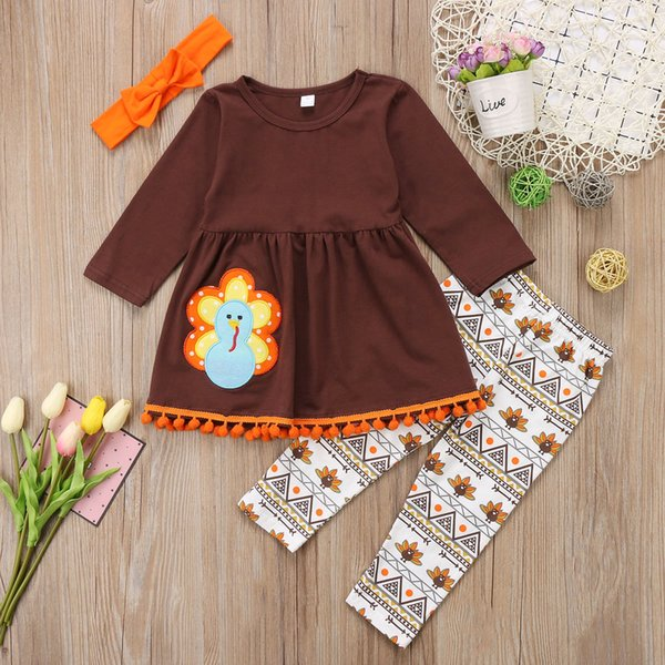 5a305994ebc Kids girl clothes outfit thanksgiving T-shirt top + pant set lovely girls  kid clothing preppy boutique dress suits cute turkey toddler 2-7T
