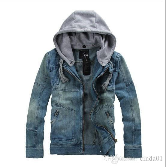 Denim Blue Jean Jackets Coats Men Autumn Winter New Hooded Casual Jacket Plus Size Outwears Removable Hat