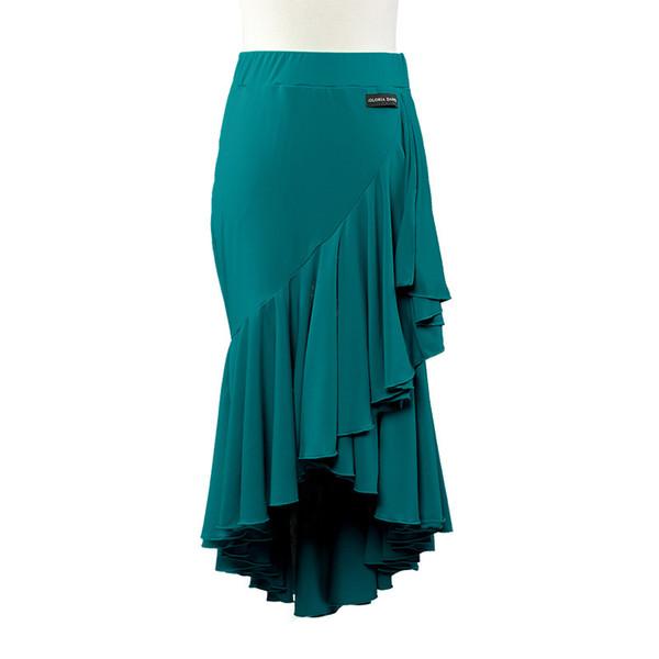 Adult/Girls Latin Dance Dress Black Red Green Salsa Tango Cha cha Ballroom Competition Practice Dance Skirt Irregular Ruffled Fishtail Skirt