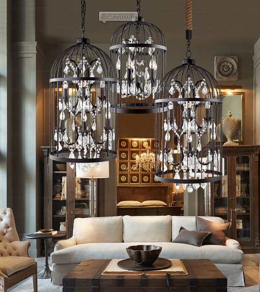 American Country European Retro Iron Cage Crystal Chandelier Light – Wrought Iron Chandeliers with Crystal