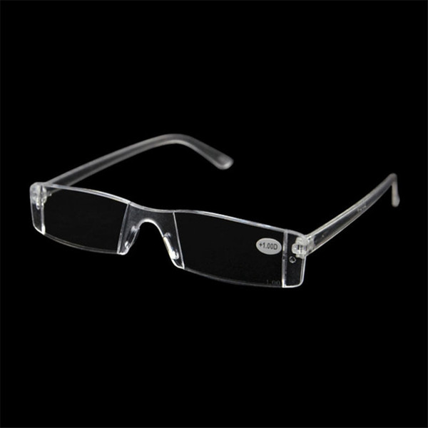 best selling 20Pcs Lot Plastic Clear Rimless Eyeglasses Presbyopia White Reading Glasses Unbreakable Women Men Transparent Reading Glasses +1.00-+4.00