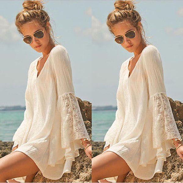 best selling Wholesale-Women Vintage Hippie Boho Bell Sleeves Gypsy Festival Holiday Lace Mini Dress