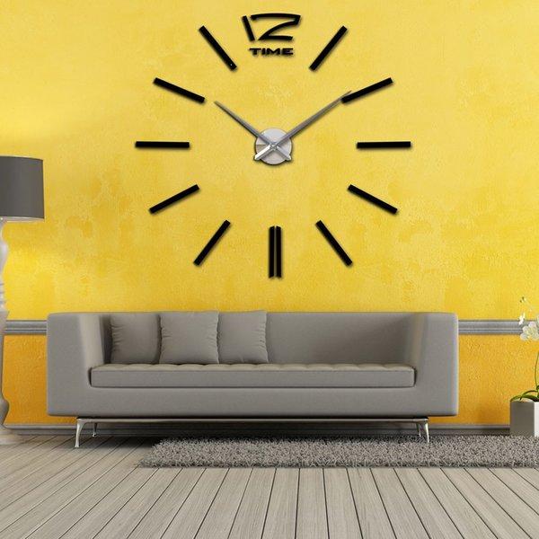 Modern Diy Wall Clock Scale Large Watch Decor Stickers Set Mirror ...