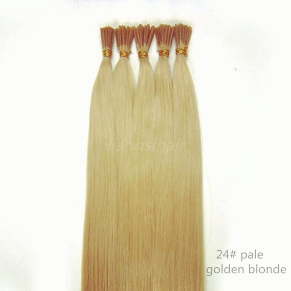 "Brazilian Indian Peruvian Malaysian I-tip Remy Human Hair Extensions 7A 15"" 80g 18""-26"" 100g 100s 24# Pale Golden Blonde Straight Style"