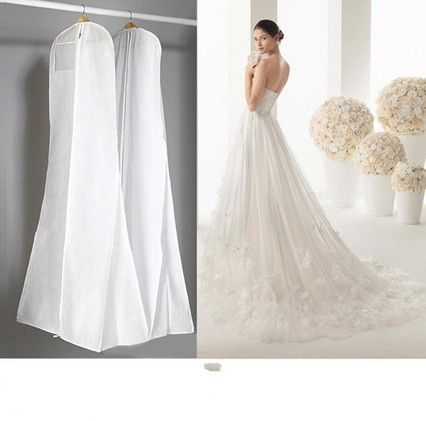 2019 Cheap No Logo Wedding Dresses With Long Train Bag Garment Cover Travel Storage Dust Cover Plus Size 180cm White Wedding Accessories