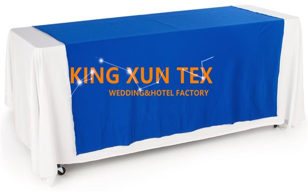 6FT White Color Rectangular Polyester Table Cloth With Top Table Runner For Wedding And Event Decoration