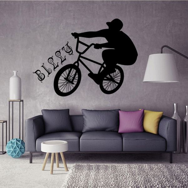 Riding Bicycle Wall Sticker Vinyl Removable Sports Wall Decal for Boys Room Living Room Wall Decor