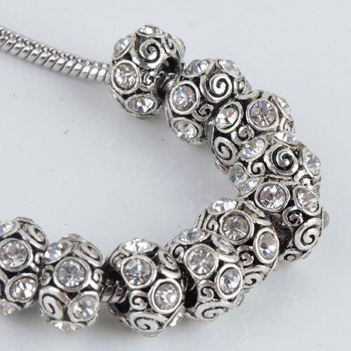 best selling Bulk Wholesale Trendy Clear Rhinestone Spiral Tibet Silver European Big Hole Charm Beads Fit Bracelet