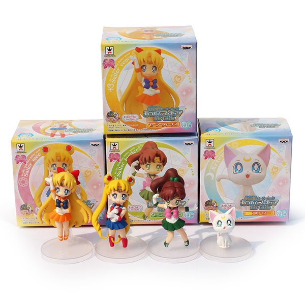 Anime Cartoon Cute Sailor Moon Sailor Jupiter Sailor Venus Q Version Action Figure Toys Dolls 4pcs/set