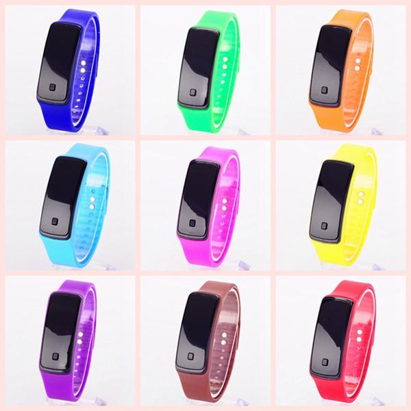 200X Fashion Rectangle Bracelet Boys Girls Touch LED Sunglasses Watch Sport Digital Men Women Unisex Jelly Candy Rubber Silicone Wristwatch