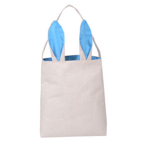 Lovely Burlap Bunny Ears Basket Bag Eco Friendly Assorted Storage Shopping Bags Easter Cute Totes for Children 100pcs/lot SK817
