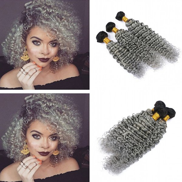 Hot Sale Dark Roots 1B Grey Human Hair 3bundles 10-30 Inch Ombre Color Deep Curly Unprocessed Human Hair Weft Extensions 3Pcs Lot