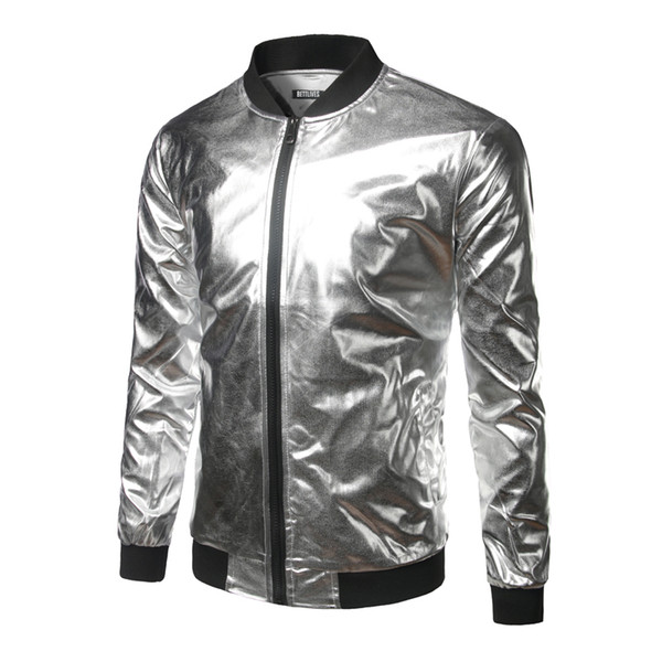 3c9b649a5 Designer Jacket Nightclub Style Mens Metallic Gold Shiny Bomber Jacket Mens  Coat Homme Casual Lightweight Baseball Varisty Jacket Fashion Summer ...