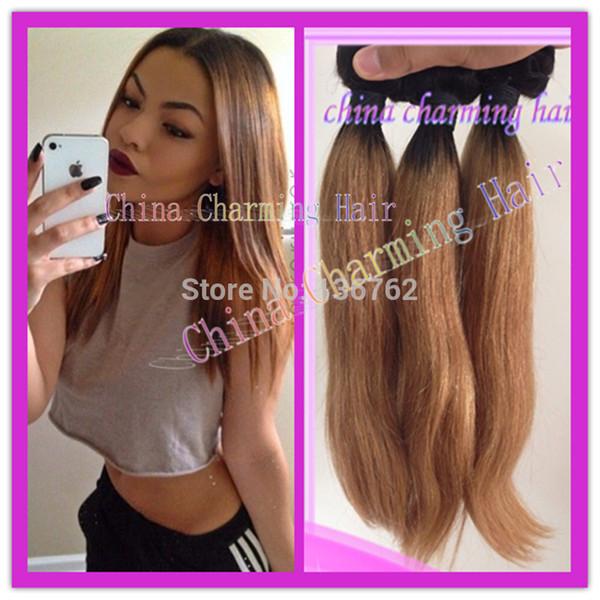 Novo estilo # 1b # 27 mel loira raiz escura reta ombre 2 tom colorido virgem brasileira tecer cabelo humano feixes, cabelo dois tons