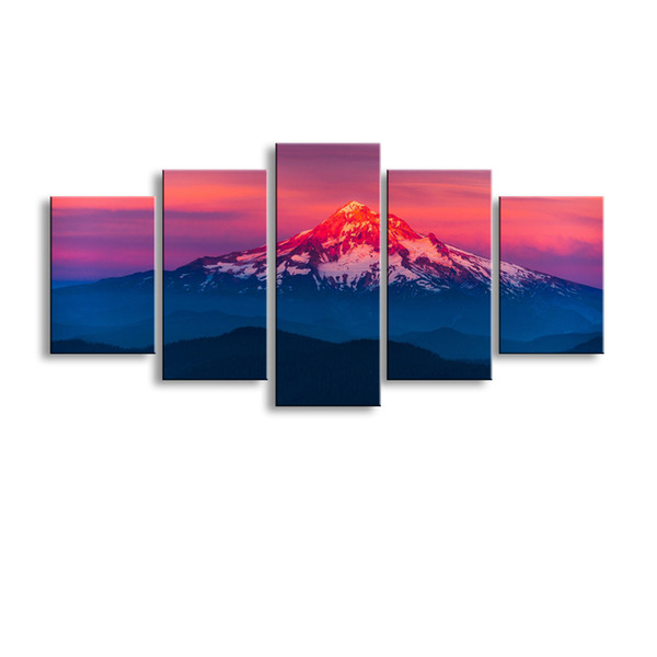 5 pieces high-definition print forest mountains snow water canvas oil painting poster and wall art living room picture PL5-185