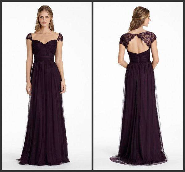 Bridesmaids Dresses Plum English Net A Line Long Sweetheart Neckline Formal Party Dress Lace Cap Sleeve Keyhole Zipper Evening Dress