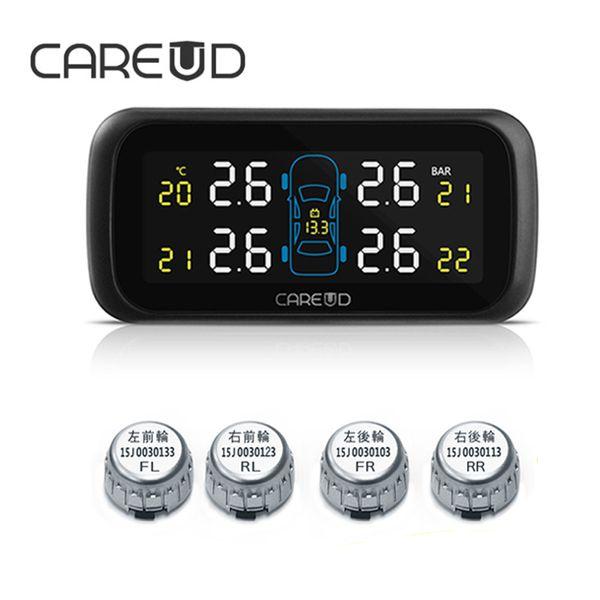 CAREUD U903 TPMS Wireless Tire Pressure Monitoring System Car 4PCS Mini External Sensors No Need to Disassemble the Tires Auto