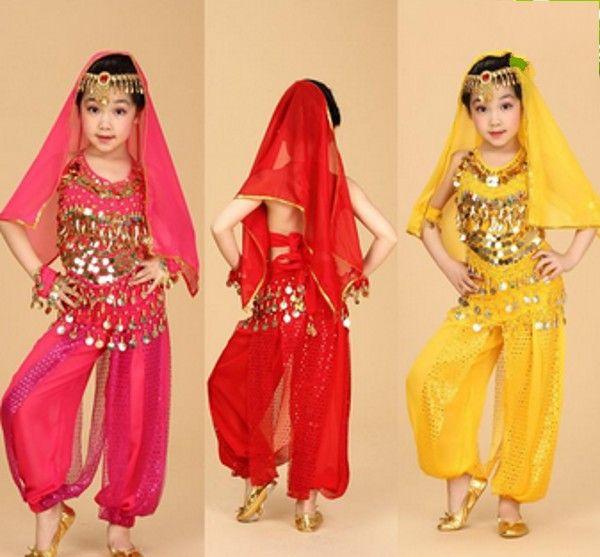 best selling 6pcs Top + Pant + Belt + Bracelet + Veil + Head Chain Kids Belly Dance Performance Costumes Children's Dancing Wear Belly Dance Cloth Set