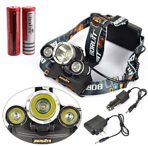 New Arrival Boruit Aluminum RJ-3000 5000Lm 3*CREE XM-L T6 LED Headlamp Headlight with Charger Rechargeable Head Lamp Lantern+2 18650 Battery