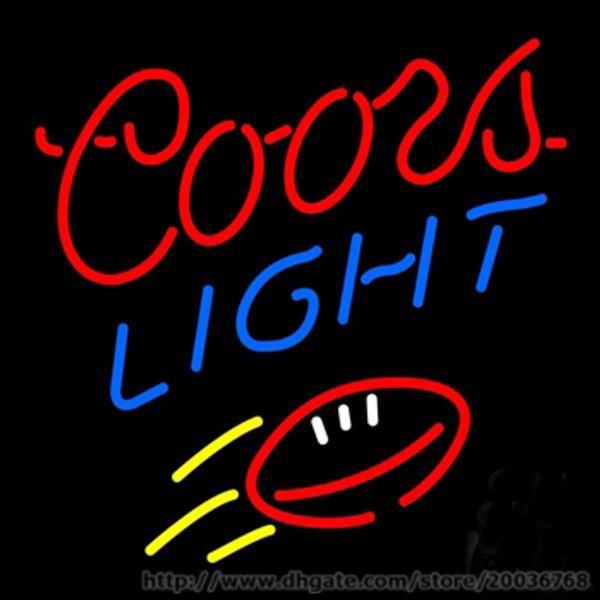 "Coors Light Football Beer Neon Sign REAL NEON STORE DISPLAY BEER BAR KTV Club Disco PUB LIGHT SIGN Advertisement Logo Sign 17""X14"""