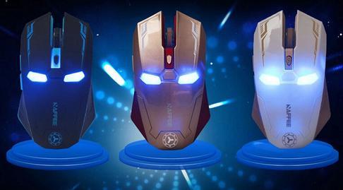 CheapNewestFree Versand Iron Man Maus, Wireless Mute Silent Gaming Maus, Wireless 2.4g