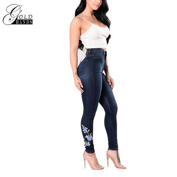 tuojin / Manos de oro mujeres delgadas flacas pantalones lápiz Streetwear pantalones elásticos pantalones vaqueros mujer empuja hacia arriba bordado pantalo