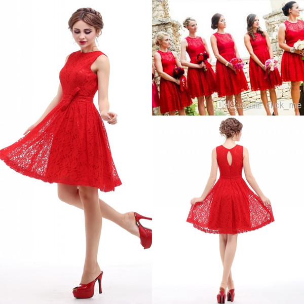 Real Image Red Short Bridesmaid Dresses Under $50 Jewel Hollow And Zipper  Lace Bridesmaid Dresses Cheap Sash Bow Plus Size Party Gown Pewter ...