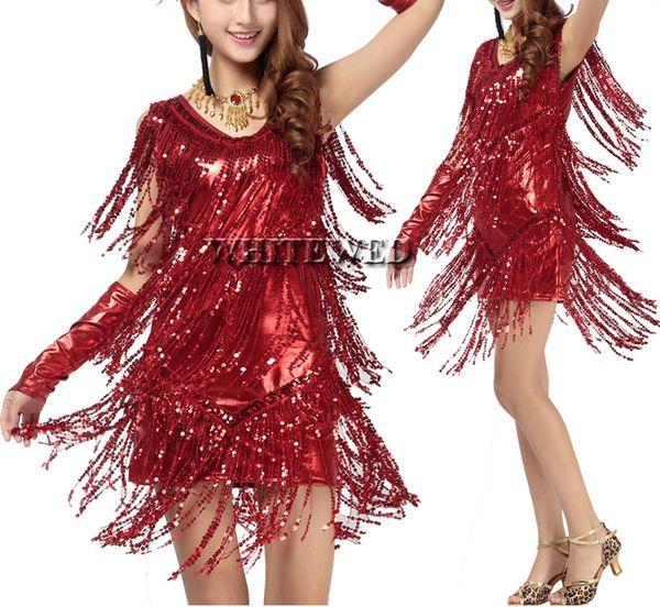 Women fringe tassel latin ballroom salsa cha cha Samba rumba jive dancewear competition fancy dress costumes for sale V Neck