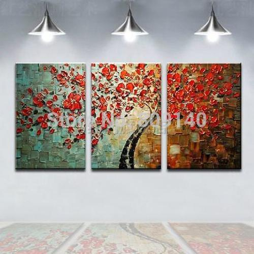 Stretched Red Flower Thick Knife oil painting canvas Landscape abstract Handmade Modern home office hotel wall art decor decoration Gift