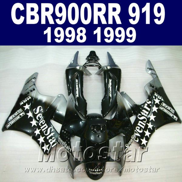 Bodywork set for Honda CBR900 RR fairings 1998 1999 CBR900RR black Sevenstars plastic fairing kit CBR919 98 99 QD18