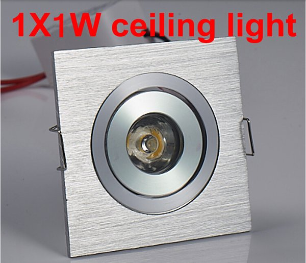 Free Shipping 10pcs/lot 1w Square LED Downlight Silver Ceiling Lamp Pure/Warm White Spot Lighting