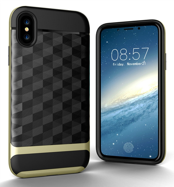 "For iPhone X Case,3 In 1 Ultra Thin and Slim Hard Case Coated Non Slip 3D Prism Surface with PC Frame for Apple iPhone X (5.8"")(2017)"