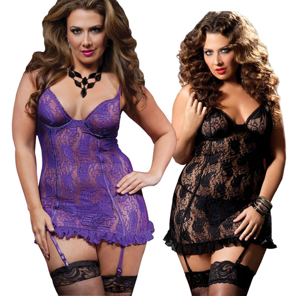 2018 Nuove donne sexy Ladies Lace Lingerie G-String Babydoll Intimo Sleepwear 2 colori Plus Size S-6XL