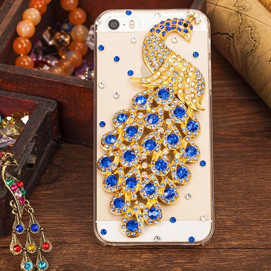 Para el iphone 7 Rhinestone Diamond Peacock Crystal Case Moda BlingTransparent teléfono celular funda protectora teléfono de la cáscara para el iphone 6s 7 más