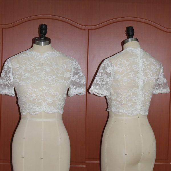 New Arrival 2017 Lace Bridal Bolero Jackets Wedding Dress For Bridal Accessories Cheap Custom Made Free Shipping EN12015