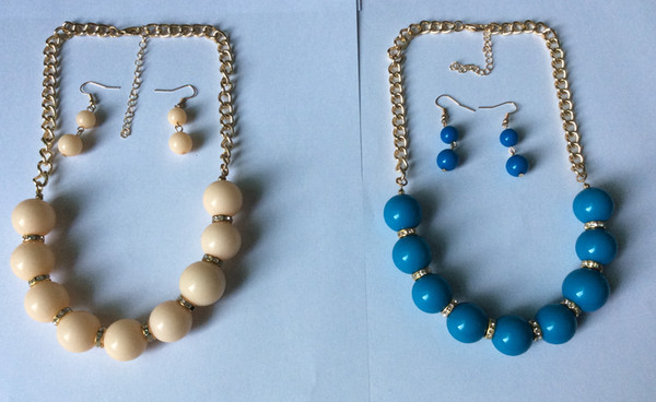 """round acrylic beads and glass stones 1 row necklace and earring set,18+3"""",multi colours available"""