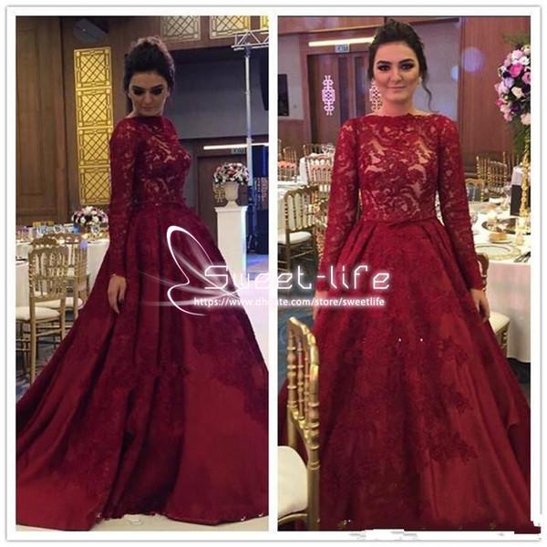 Elegante Sud Africa 2017 Prom Dress Maniche Lunghe Gioiello Sheer Ball Abito Da Sera Formale Vestito Turchia Red Carpet Celebrity Pageant Gown