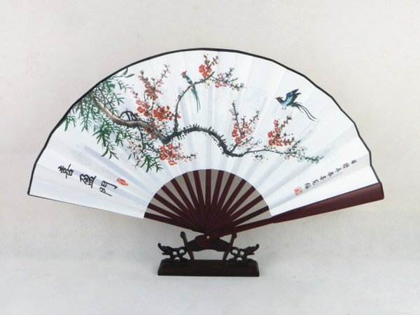 Vintage Folding Hand Fan Traditional Craft Decorative Chinese Fan Painting Big Bamboo Silk Fan for Men 1pcs