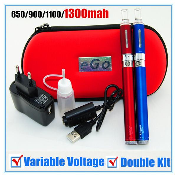 Double Vision Kit Electronic Cigarette EGO Starter Kit Contented Vision Spinner Battery MT3 Atomizer Zipper Case USB Charger E-Cig Sets DHL
